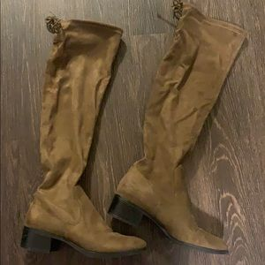 Zara over the knee olive green faux suede boots